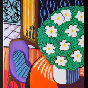 Ispirato allo stile di Matisse, quest'opera rappresenta un vaso di margherite su un tavolo vicino al balcone aperto ed il riflesso del gatto nel vetro.