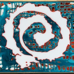 """""""Follow Me"""" is a liquid acrylic pour, with a resin finish on a wood panel."""