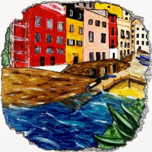Un mur ébréché, laissant apparaitre un village italien en bord de mer , la Spezzia